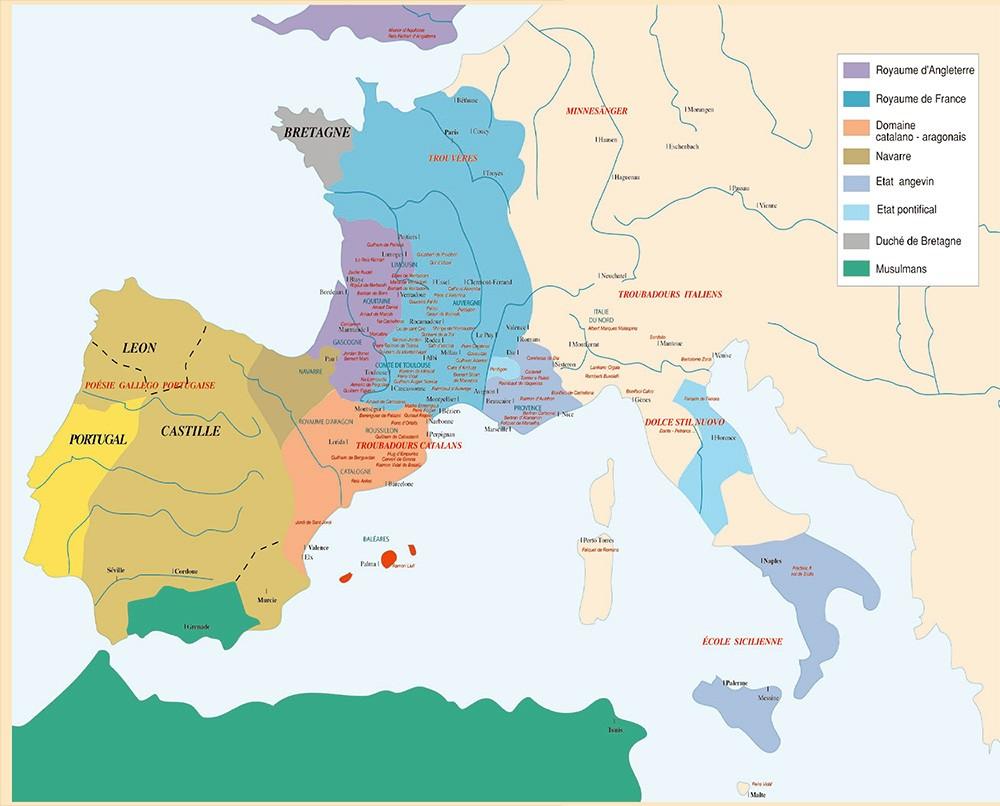 Carte Troubadours en Europe XIIème siècle